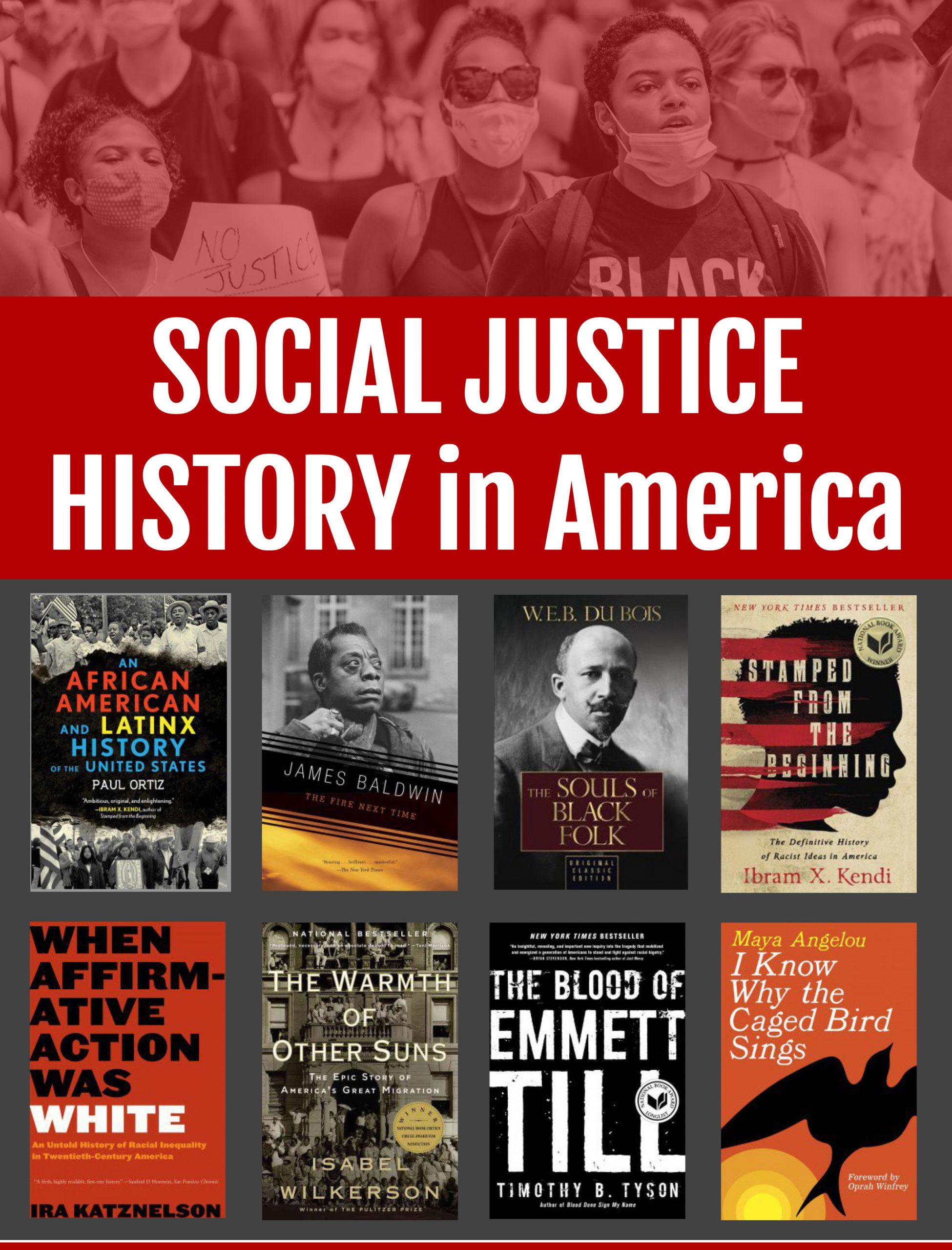 image of social justice history books