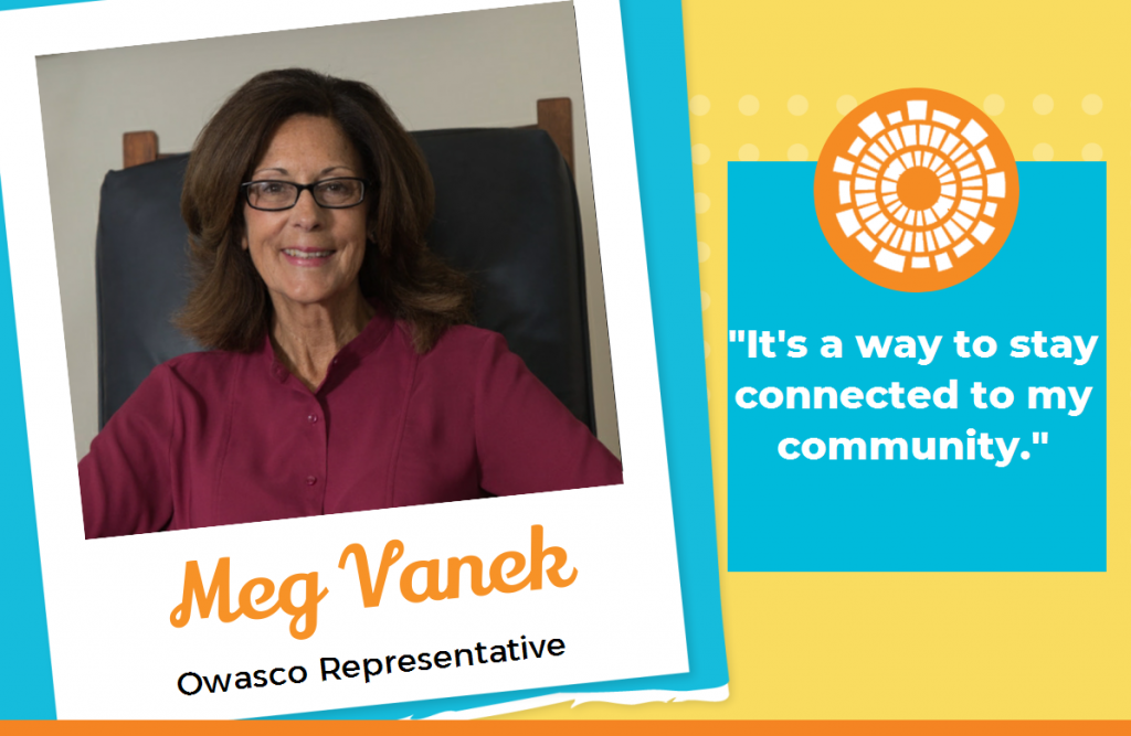 Meg Vanek - Owasco Representative  It's a way to stay connected to my community.  Image of Meg with Seymour Library Logo and testimonial.