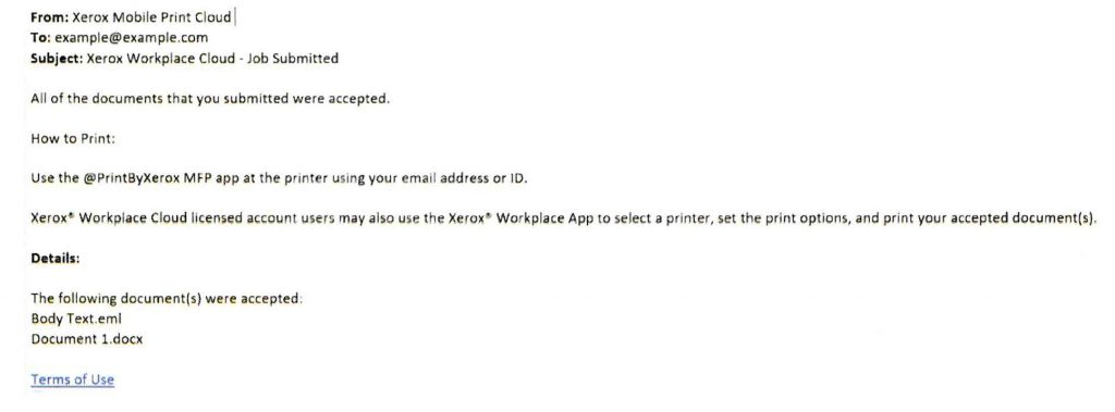 sample of success email for print