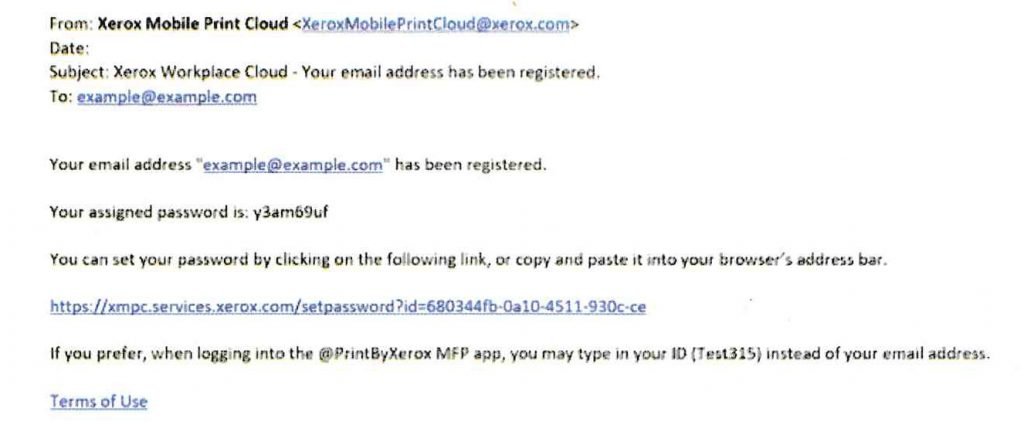 sample of username and password email